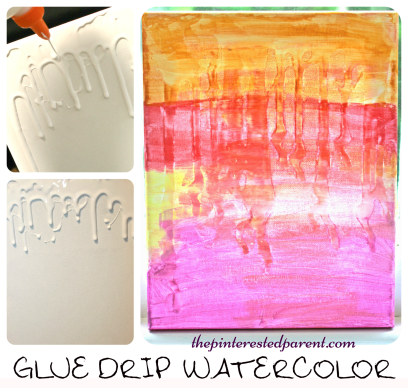 Glue Drip Watercolor canvas art - painting projects for kids -messy arts and crafts.