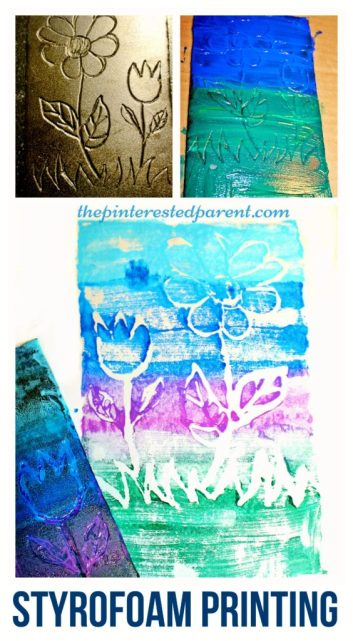 Styrofoam paint printing and stamping activity for kids - arts & crafts projects for children