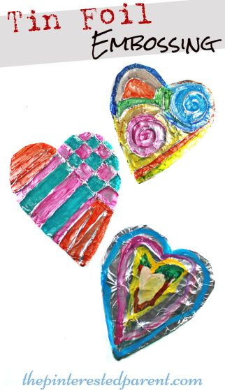 Tin Aluminum Foil Embossing - Painted embossed hearts. Pretty kid's arts &crafts projects for kids.