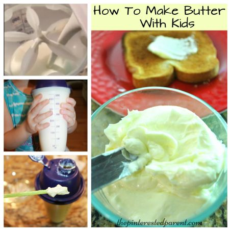 Butter making with kids. Easy recipe that you can make with the family
