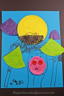 Cupcake liner crafts for kids - Make a landscape scene