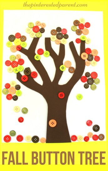 Fall Button Falling Leaf Tree Craft - autumn arts & crafts for kids
