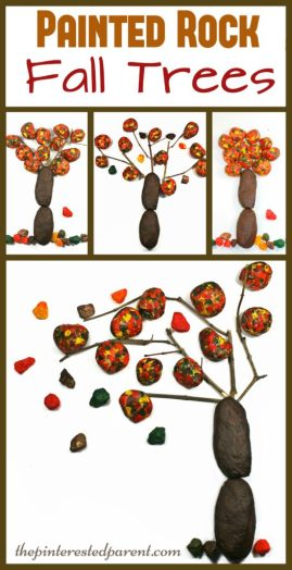 Fall autumn trees made from painted rocks - kid's arts & crafts made from nature..