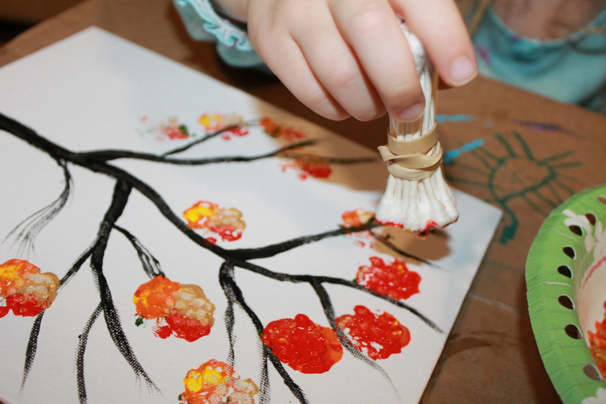 fall tree painted with bundled q tips autumn arts craft projects for kids