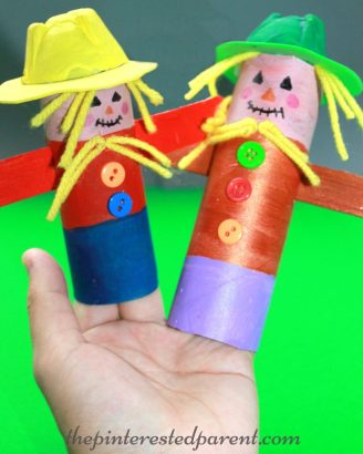 Toilet Paper / paper towel roll scarecrows - the tubes make great finger puppets for a fun craft or pretend play. autumn & Halloween arts & crafts for kids