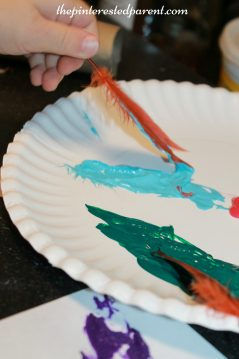 Feather stamping & painting process art for kids