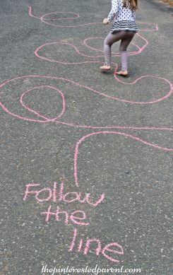 Sidewalk Chalk Games & Activities for kids. Fun outdoor play spring, summer, fall.,
