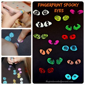 These are so cute & fun to make. Thumbprint or fingerprint spooky eyes. Kid's arts & crafts. Perfect for Halloween