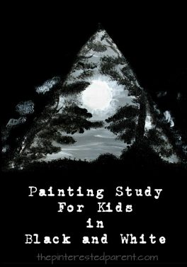 Moon landscape painting in black and white and gray. Painting study in black and white for kids is made with a few simple shapes. Easy step by step tutorial.