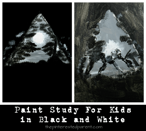 Moon painting in black and white and gray. Painting study in black and white for kids. Easy step by step tutorial.