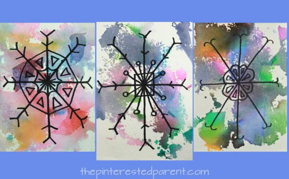 Bleeding tissue paper snowflake art - winter arts and crafts projects for kids - beautiful process art for Christmas - painting with tissue