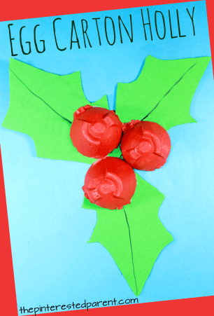 Egg Carton Holly. Arts and crafts for kids and preschooler for the winter and Christmas