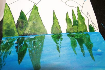 imgTry this step by step paint and fold paint and print reflection. Winter snowy tree painting. A great art project for kids or adults. Arts and crafts._5911