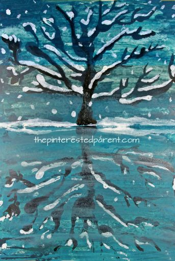 Try this step by step paint and fold paint and print reflection landscape. Winter snowy tree and lake painting. A great art project for kids or adults. Arts and crafts.