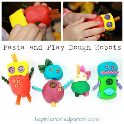 Pasta and play dough or clay robots. Arts and crafts for kids and preschoolers.