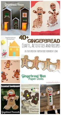 Over 40 gingerbread inspired arts and crafts, activities, sensory and recipes. Gingerbread house and gingerbread men projects for kids for the winter & Christmas