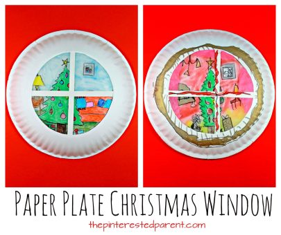 Paper plate sun catcher or luminary Christmas window scene. holiday and winter arts and crafts for the kids. Wax paper and SHarpies