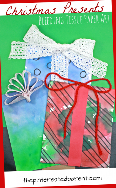 Bleeding tissue paper painted Christmas presents and gifts. Pretty arts and crafts project for the kids during the holiday season. Watercolors would work nicely as well.
