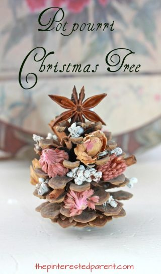 Pine Cone and potpourri Christmas tree. Simple craft project that smells lovely. This is one that you could do with the kids as well. Winter arts and crafts projects with nature