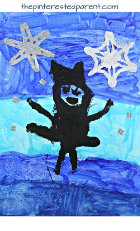 Newspaper and watercolor paintings for kids. Winter arts and crafts for kids, salt sprinkled mixed media with watercolors, newspaper and acrylics