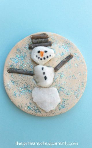 Sticks and stones snowman winter nature crafts - use clay, salt dough or play dough to set these pretty seasonal arts and crafts projects for kids, rock snowman, twig snowflake & Christmas tree