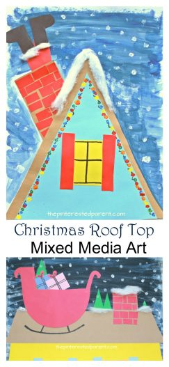 Up on the roof top Christmas and winter artwork - mixed media arts and crafts projects for kids - paint, construction paper