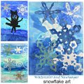 Newspaper and watercolor paintings for kids. Winter arts and crafts for kids, Resist painting and salt sprinkled mixed media with watercolors, newspaper and acrylics