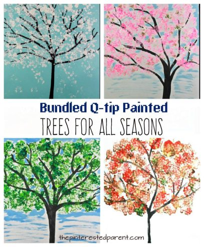 Easy Bundled Q-tip stamped tree paintings for every season. Winter, spring, summer and fall arts and craft project for kids. Make cherry blossoms or beautiful autumn leaves. Great for toddlers or preschoolers