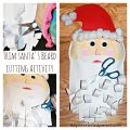 Trim Santa's beard cutting activity for Christmas. A wonderful kid's arts and crafts and fine motor skill activity. A fun way to teach toddlers and preschoolers how to cut. Paper plate crafts.