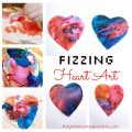 Fizzing heart baking soda and vinegar heart paint eruptions. Science and art fun for kids perfect for Valentines Day or any time. Also great for fine motor skills. Arts and crafts activities for kids & toddlers.