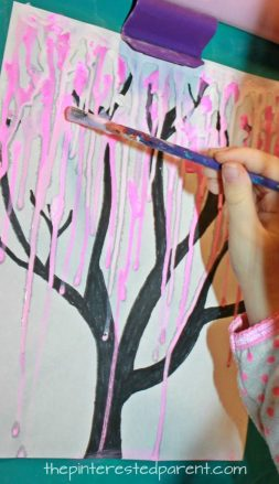 Drip Paint Cherry Blossom Tree artwork - kid's arts and craft ideas. Beautiful and easy process. Great spring craft