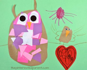 Construction paper mosaic owl craft - easy everyday arts and craft for kids and preschoolers. Great for cutting and scissor skills. Fine motor activities