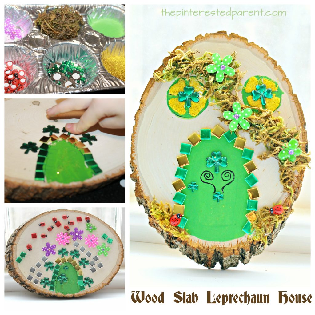 Wood Slab Leprechaun house and door. St Patricku0027s Day arts and crafts for kids.  sc 1 st  The Pinterested Parent & Wood Slab Leprechaun House u2013 The Pinterested Parent