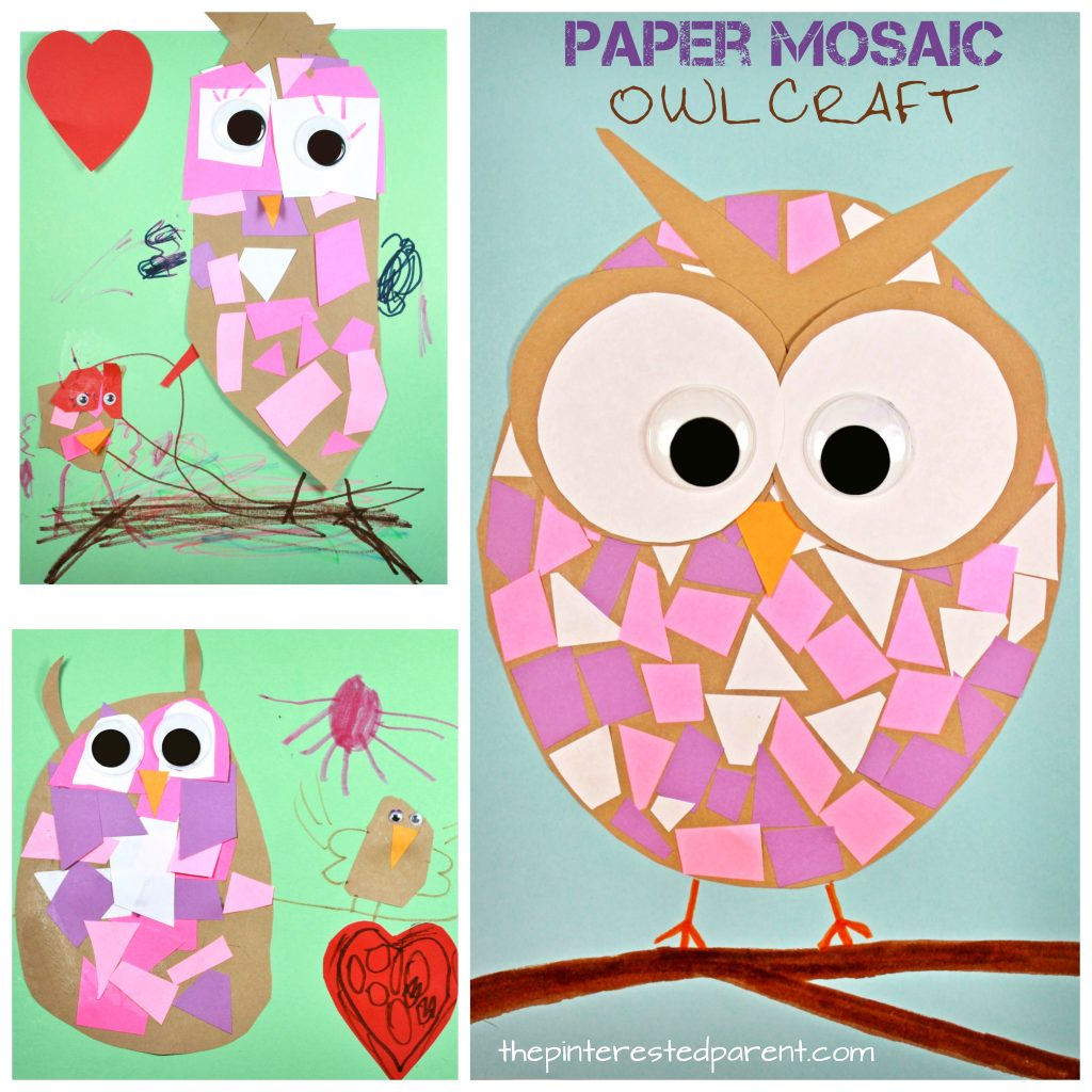Paper Mosaic Owls The Pinterested Parent