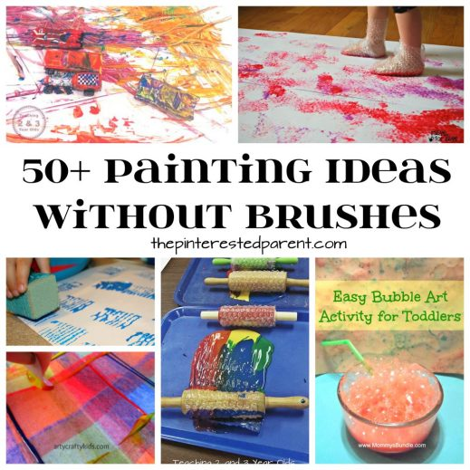 Over 50 painting without brushes technique ideas for kids. Fun process art projects for toddlers, preschoolers and kids