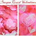 Crayon resist bleeding tissue paper painted hearts for Valentine's Day. Kid's arts and crafts ideas. This pretty art project is great for preschoolers.