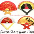 Painted Paper Plate Hand Fans. Great for Chinese New Year or Tet. Kid's & preschooler cultural arts and crafts ideas.