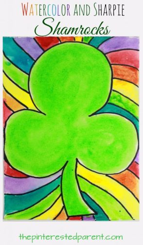 Watercolor and Sharpie shamrocks for St. Patrick's Day. Simple kid's arts & crafts, painting projects. Great for preschoolers too.