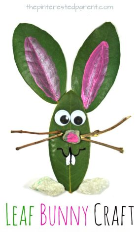 Leaf Easter Bunny Craft. Easy spring nature arts & crafts for kids