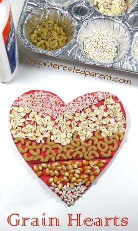 Hearts made with grains. Perfect for Valentine's day. Use rice, oats, pasta, barley, popcorn kernels. Arts and crafts for kids & preschoolers