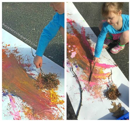Nature painting. Paint with sticks, leaves, rock etc.. Kid's play and process art for the spring, summer or fall.