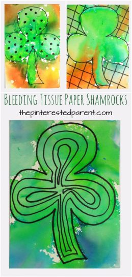 Bleeding tissue paper shamrocks for St. Patrick's Day. Easy arts and crafts art ideas and painting for preschoolers and kids.
