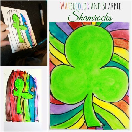 Watercolor and Sharpie shamrock paintings for St. Patrick's Day. Simple kid's arts & crafts projects. Great for preschoolers too.