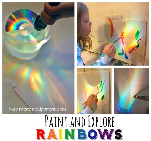 Make, explore and paint rainbows. Use a CD, water and sunlight or a flashlight to cast rainbows, study and paint with watercolors. A great piece of process art for kids. Art and science, STEAM projects for preschoolers.