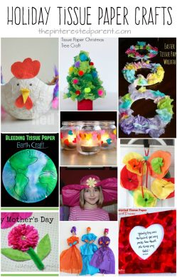 Awesome holiday tissue paper arts and crafts projects for kids.