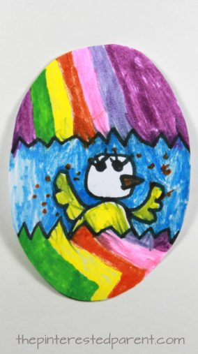 Easter egg arts and crafts for kids. Chick hatching