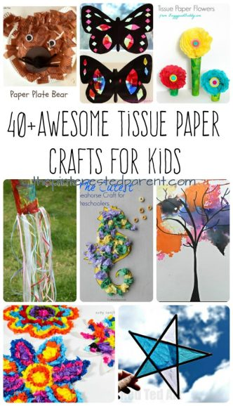 Over 40 Awesome Tissue paper crafts projects for kids. Flowers, animals, seasonal and holidays. Arts and crafts for kids
