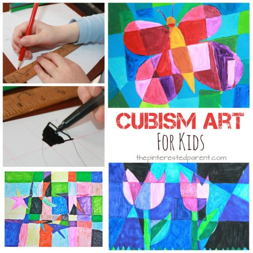 Picasso inspired Cubism art for kids. Spring arts & crafts ideas. Butterflies and tulips - abstract art