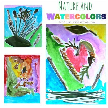 Nature and watercolor paints art collage for kids. A pretty and fun piece of process art for the preschoolers and kids. This is a great spring and summer arts and craft project