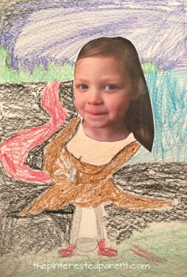 Use a picture of your child's face and draw around it for a Mona Lisa inspired artwork. Arts and crafts inspired by famous artists - DaVinci